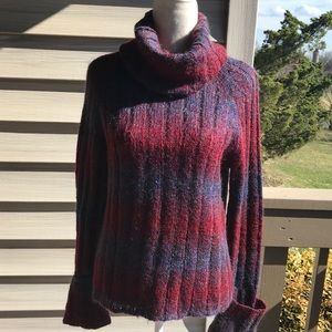 DKNY Mohair striped t-neck sweater. Size M